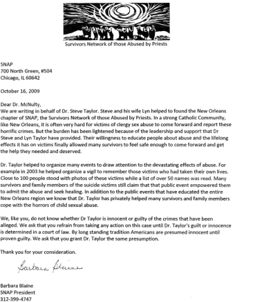 Barbara Blaine encouraging support for Dr. Taylor on SNAP letterhead.